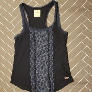 Hollister Navy Blue Tank Top with Lace Detail sz S